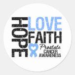 Fe del amor de la esperanza del cáncer de próstata etiqueta redonda