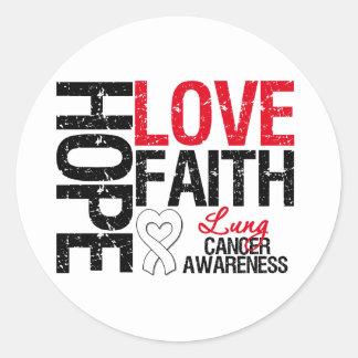 Fe del amor de la esperanza del cáncer de pulmón pegatina redonda