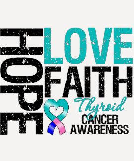Fe del amor de la esperanza del cáncer de tiroides remeras