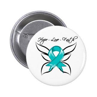 Fe del amor de la esperanza del cáncer ovárico pin redondo de 2 pulgadas