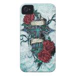 Fe en cruz y rosas del amor en estilo del tatuaje iPhone 4 Case-Mate cárcasa