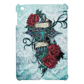 Fe en cruz y rosas del amor en estilo del tatuaje iPad mini carcasa