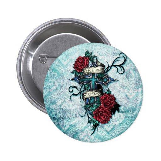 Fe en cruz y rosas del amor en estilo del tatuaje pins
