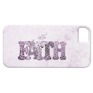 Fe en letras texturizadas púrpura funda para iPhone SE/5/5s