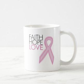 Fe, esperanza, amor - ayuda del cáncer de pecho tazas de café