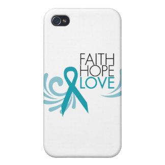 Fe, esperanza, amor - cáncer ovárico iPhone 4 funda