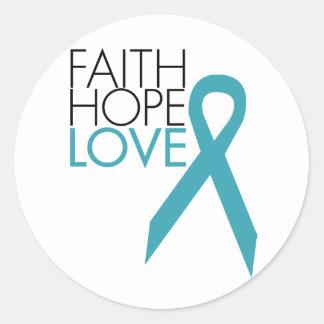 Fe, esperanza, amor - cáncer ovárico pegatina redonda