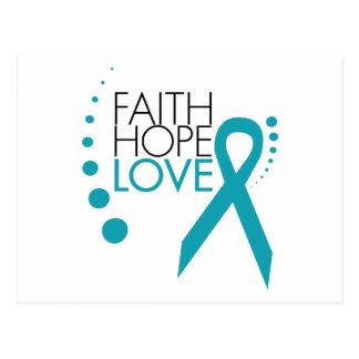 Fe, esperanza, amor - cáncer ovárico postal