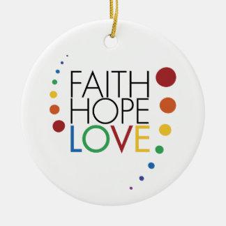 Fe, esperanza, amor - conciencia lesbiana gay ornaments para arbol de navidad