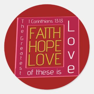 Fe, esperanza, amor pegatinas redondas