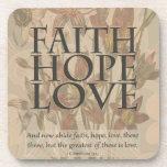 Fe, esperanza, amor posavaso