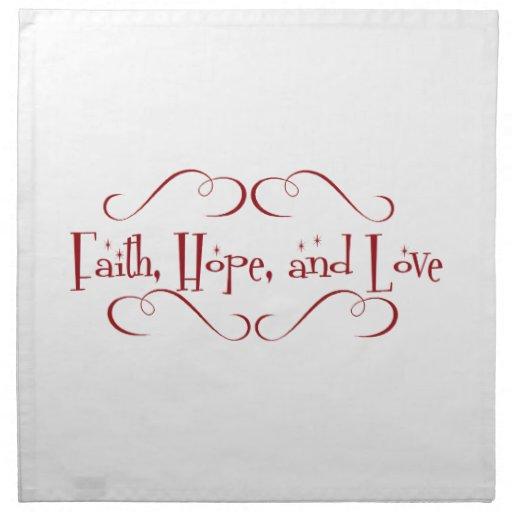 Fe, esperanza, amor servilletas de papel