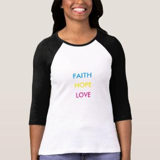 Fe, esperanza, camiseta del amor playeras