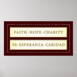 Fe, esperanza, caridad en español posters