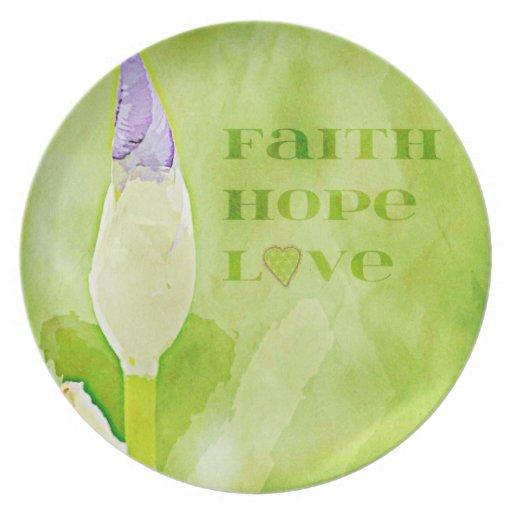Fe, esperanza, iris del amor plato para fiesta