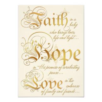 """Fe, esperanza, marfil del amor, tarjeta de Navidad Invitación 5"""" X 7"""""""