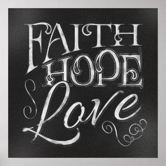 Fe, esperanza, poster de la pizarra del amor
