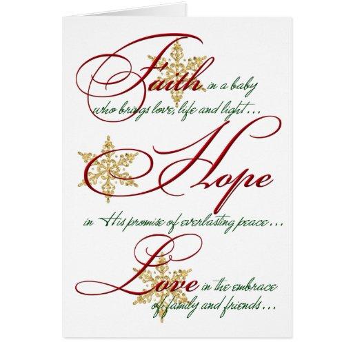 Fe, esperanza, tarjeta de Navidad de los copos de