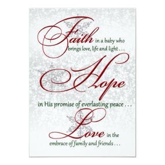 """Fe, esperanza, tarjeta de Navidad de plata de la Invitación 5"""" X 7"""""""