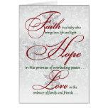 Fe, esperanza, tarjeta de Navidad de plata de los