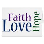 Fe, esperanza y amor: 1 13:13 de los Corinthians Tarjeta