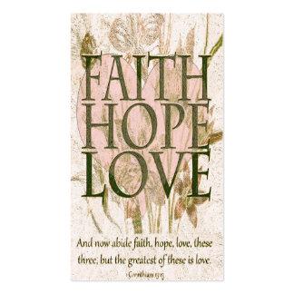 Fe, esperanza y amor conmemorativos de la tarjeta tarjetas de visita