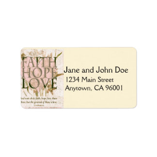 Fe, esperanza y amor etiquetas de dirección