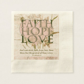 Fe, esperanza y amor servilleta de papel