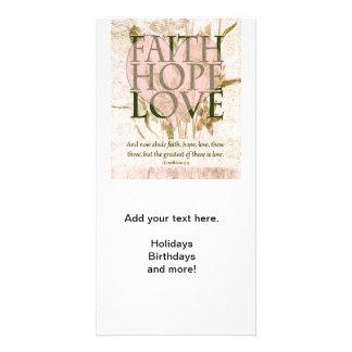 Fe, esperanza y amor tarjetas fotograficas