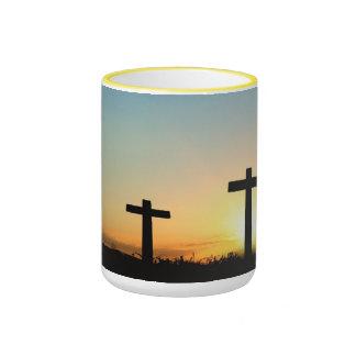 Fe, esperanza, y cruz del Jesucristo del amor Taza De Dos Colores