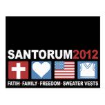 Fe, familia, libertad y chalecos del suéter postales