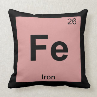 Fe - Iron Chemistry Periodic Table Symbol Element Throw Pillow