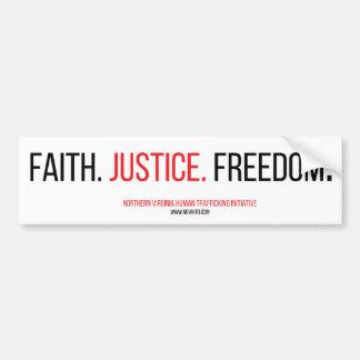 Fe. Justicia. Libertad. Etiqueta engomada de Pegatina Para Auto
