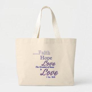 Fe, la escritura más grande de la biblia del amor  bolsa tela grande