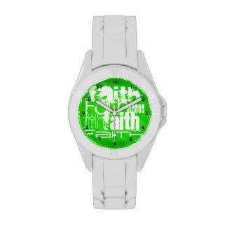 Fe; Rayas verdes de neón Relojes De Mano