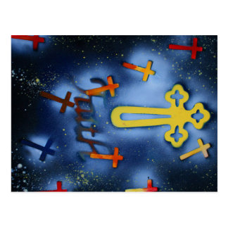 fe spacepainting cruzada amarilla tarjeta postal