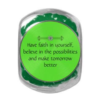 Fe y creencia frascos de cristal