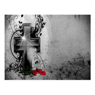 Fe y rosas góticos tarjeta postal