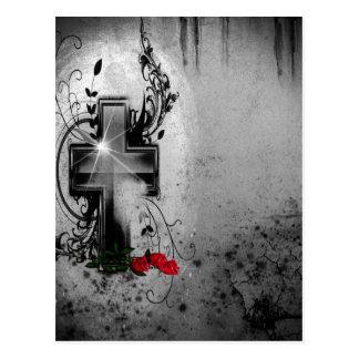 Fe y rosas góticos postal
