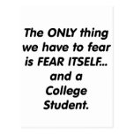 fear college student postcard