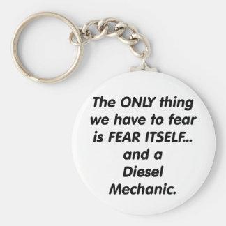 Fear diesel mechanic basic round button keychain