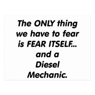 Fear diesel mechanic postcard