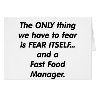 Fear Fast Food Manager Card