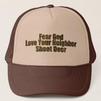 Fear God, Lover Your Neighbor, Shoot Deer Trucker Hat