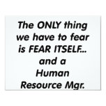 """fear human resource manager 4.25"""" x 5.5"""" invitation card"""