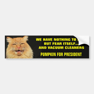 Fear Itself and Vacuums - Pumpkin for President Bumper Sticker
