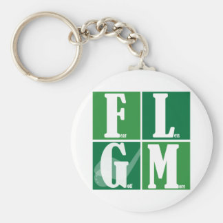 Fear Less Golf More Basic Round Button Keychain