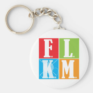 Fear Less Knit More Basic Round Button Keychain