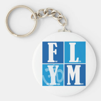 Fear Less Yoga More Basic Round Button Keychain