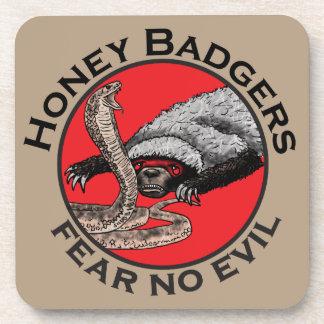 Fear No Evil Honey Badger Funny Animal Red Design Beverage Coaster